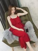 套裝夏裝新款寬鬆女神范顯瘦雪紡吊帶背心兩件套九分闊腿褲套裝女 可然精品