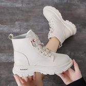 冬季女鞋子馬丁靴女2019新款百搭英倫風白色短靴子女秋季單靴平底   依夏嚴選