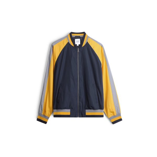 Gap男裝活力撞色插肩袖棒球領外套536585-黃色