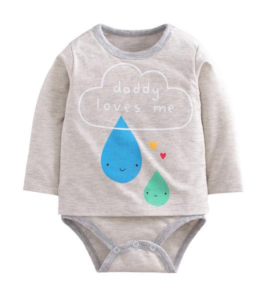 童裝 現貨 雙層純棉拉架假兩件印花包屁衣-08款灰底藍綠雨滴【40068】