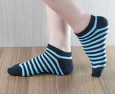 MIT彩色條紋精梳棉短襪 柔軟透氣-藍(女用)【W005-06】Nacaco