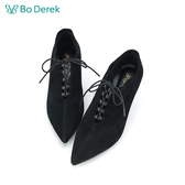 Bo Derek 羊皮綁帶高跟踝靴-黑色
