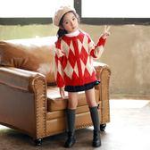 女童毛衣開襟秋裝新款洋氣童裝中大童韓版上衣兒童針織外套女【卡米優品】
