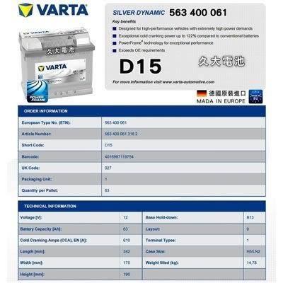 ✚久大電池❚ 德國進口 VARTA 銀合金 D15 63Ah PEUGEOT 106 107 1007 205 206