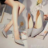 高跟鞋百搭銀色磨砂亮片尖頭淺口中跟細跟單鞋女 蘿莉小腳ㄚ