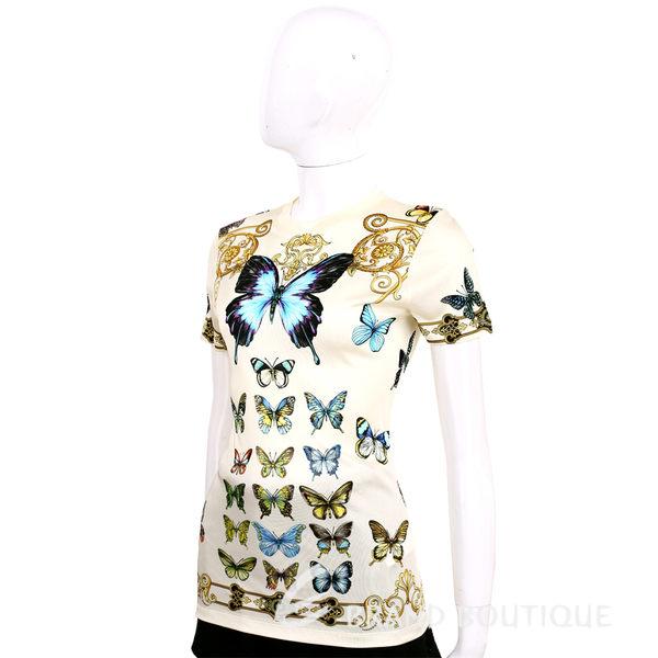 VERSACE 米黃色蝴蝶圖騰短袖上衣 1620334-65
