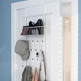 壁掛衣架 臥室門後掛鉤置物架免打孔門後收納門後置物架壁掛無痕門後掛衣架【幸福小屋】