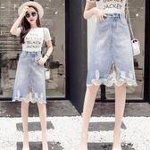 牛仔半身裙夏季中長款破洞蕾絲新款高腰短裙 JD5071【KIKIKOKO】
