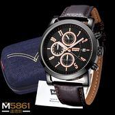【Levis】Levi's 男錶 三眼錶 計時運動錶 石英錶 真皮錶帶 經典盒裝/黑框棕色錶帶/43mm