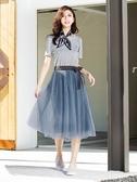 單一優惠價[H2O]假兩件式活動一片紗裙可兩穿針織洋裝 - 藍/白/灰色 #0684009