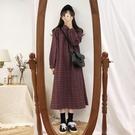 長袖洋裝 年流行裙子秋季新款polo領格子裙寬鬆中長款氣質連衣裙女 - 雙十二交換禮物