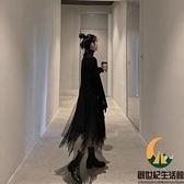 網紗連身裙針織毛衣小黑裙兩件套裝裙子女【創世紀生活館】