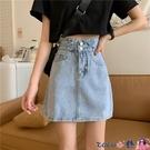 熱賣牛仔短裙 牛仔半身裙女2021年新款大碼高腰a字短裙設計感百搭顯瘦包臀裙子 coco