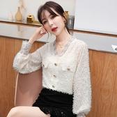 蕾絲上衣 8617#秋季新款韓版雪紡衫蕾絲流蘇氣質V領百搭上衣NA53快時尚