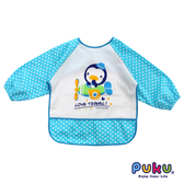 PUKU 藍色企鵝-長袖防水圍兜衣-點點藍 大樹