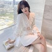洋裝長袖氣質OL白色連身裙秋裝翻領雙排扣長袖姐姐同款西裝裙N718紅粉佳人