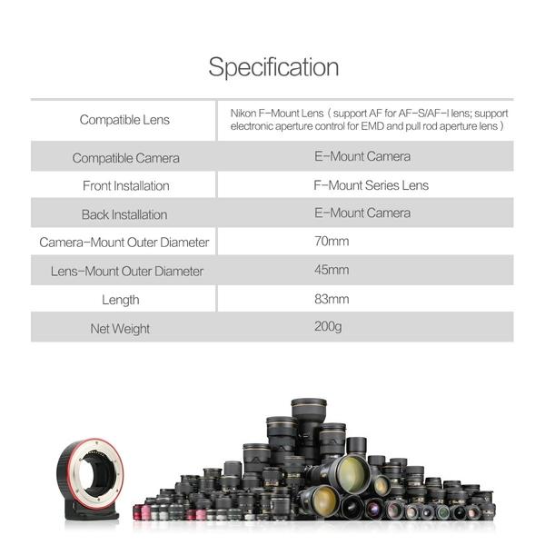 Aoda 奧達 (Nikon AF-S 鏡頭) 轉 (SONY FE E-Mount 機身 ) 電子轉接環 支援自動對焦 防手震 EC-SNF-E