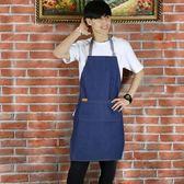 圍裙 咖啡店師可愛棉質帆布廚房男女正韓時尚工作服  喵可可