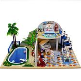 【WT16122108】 手製DIY小屋 手工拼裝房屋模型建築 音樂盒 含展示盒-清夏小築