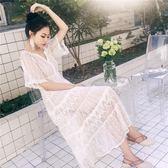 沙灘裙仙女長裙V領顯瘦蕾絲連衣裙