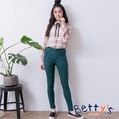 betty's貝蒂思 素色彈性腰圍窄管長褲(深綠)