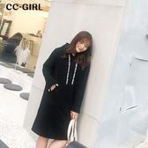 中大尺碼 黑色口袋連帽洋裝(內刷絨) - 適XL~3L《 67299 》CC-GIRL