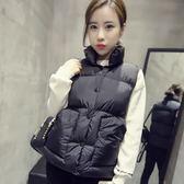 秋冬羽絨馬甲韓版顯瘦學生短款棉背心坎肩女士百搭面包服加厚外套
