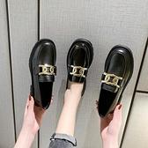 樂福鞋 樂福鞋一腳蹬黑色小皮鞋女2021年新款平底春秋單鞋英倫風韓版百搭 小衣裡
