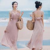 促銷不退換!普吉島沙灘裙女夏海邊度假長裙超仙顯瘦連身裙1169GTB1FBF-12B紅粉佳人
