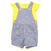 Carter's卡特 美國童裝平行輸入 女寶寶 蝴蝶袖T恤&吊帶短褲 藍直條【CA127G954】