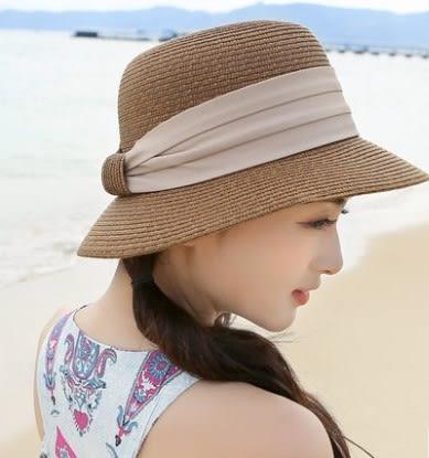 [協貿國際]  女士春夏天草帽蝴蝶結禮帽大沿沙灘帽遮陽帽 (1入)