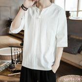 棉麻上衣 大碼亞麻V領短袖T恤夏季薄款中國風純色半袖男裝潮流寬鬆 DR16163【Rose中大尺碼】