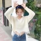 秋季女裝韓版寬鬆套頭V領純色不規則破邊針織衫長袖休閒毛衣上衣「時尚彩虹屋」