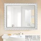 實木歐式浴室鏡 化妝鏡 梳妝洗手間廁所衛浴鏡衛生間鏡子 貼墻壁帶框 降價兩天