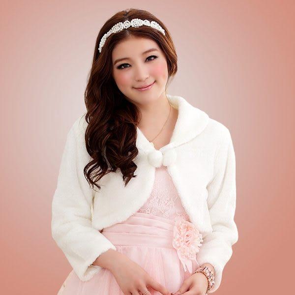 甜美閨蜜伴娘禮服披肩毛毛小外套(白色)~美之札