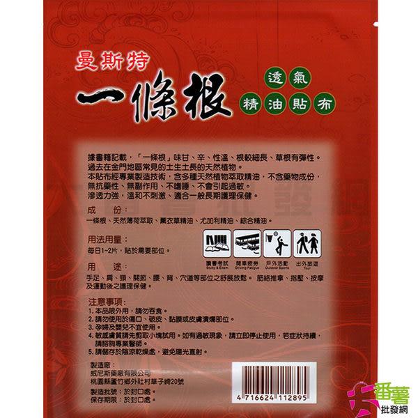 曼斯特 一條根 透氣精油貼布(1片) [13N1] - 大番薯批發網