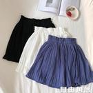 新款韓版短裙 小清新純色雪紡半身裙 高腰百褶防走光短裙褲 自由角落