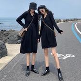 秋裝韓版新款高腰顯瘦時尚流行小黑裙V領長袖連身裙女閨蜜裝 雅楓居