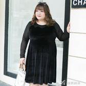 胖mm顯瘦胖仙女大呎碼女裝早秋裝網紗拼接洋裝藏肉10626 樂芙美鞋