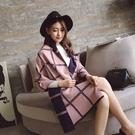 時尚主義線雙線條雙面雙色仿羊絨保暖 圍巾 披肩 藍粉