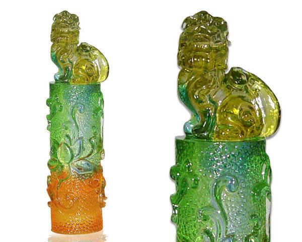 鹿港窯-居家開運水晶琉璃吉祥印章-圓雕花系列【貔貅】附精美包裝◆免運費送到家
