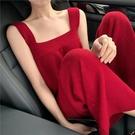 背帶褲 紅色針織背帶褲女2020秋修身寬松連體褲直筒拖地闊腿褲 伊莎公主
