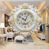 簡約歐式掛鐘客廳大號掛錶創意靜音鐘錶擺鐘現代墻壁鐘臥室石英鐘igo「時尚彩虹屋」