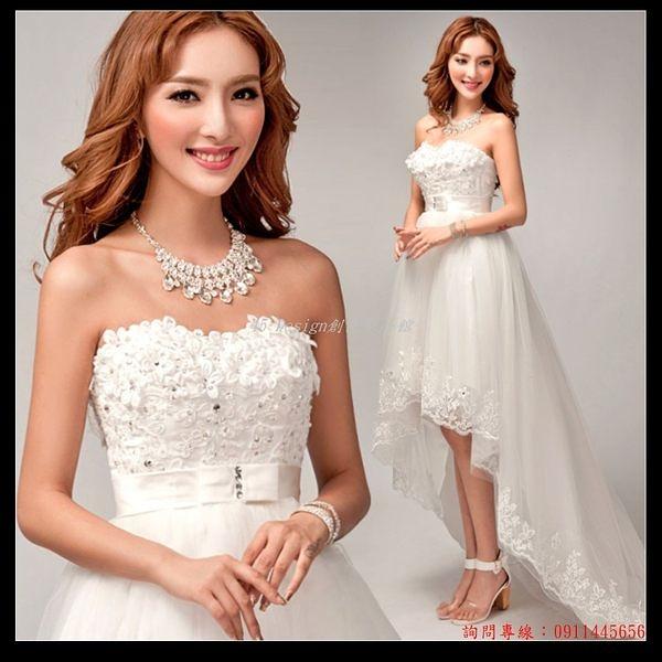 (45 Design訂做款式7天到貨 韓式花朵抹胸前短後長公主新娘蕾絲拖尾婚紗禮服