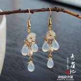 鍍金白色水滴耳環古風復古漢服旗袍配飾古裝耳墜  朵拉朵衣櫥