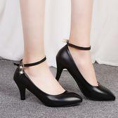 春軟皮工作鞋黑色工裝皮鞋綁帶高跟鞋一字扣單鞋中跟正裝職業女鞋QM 莉卡嚴選