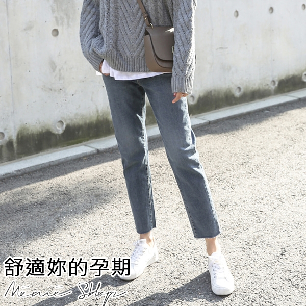 孕婦裝 MIMI別走【P61523】摩登經典 寬鬆直筒牛仔褲 托腹褲 孕婦褲