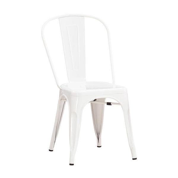 【森可家居】工業風鐵餐椅(白色) 8JX536-15 美式復古 椅子 出清折扣