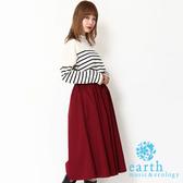 「Winter」【SET ITEM】定番橫條紋落肩針織上衣+素面寬褲裙 - earth music&ecology