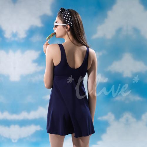 ☆小薇的店☆台灣製沙麗品牌新款【圓點普普風格】時尚兩件式連身裙泳裝特價890元NO.H19116(L-EL)